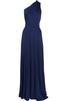 Midnight blue bridal gown silk one shoulder princess catherine designer