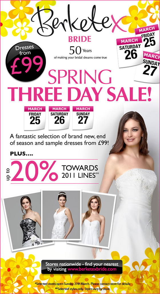 Berketex Bride Sample Sale voucher Wedding dresses for under £100