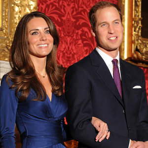 Sapphire blue silk wrap dress royal engagement photo Kate Middleton Issa