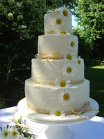 Daisy straw rustic cheap wedding cake